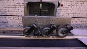 De automatische bepaling van de lengte van een houten straal, moderne transportband, automatiseerde lijn, moderne meubilair produ stock video