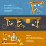 De automatisering van transportbandbanners van arbeidstransportband royalty-vrije illustratie
