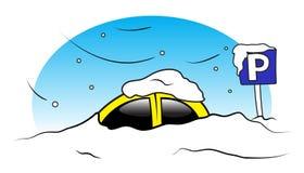 De autoparkeren van de winter Stock Afbeelding