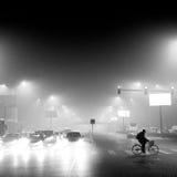 De autoriteiten van Peking voeren het smog waakzame oranje niveau op Stock Fotografie