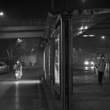 De autoriteiten van Peking voeren het smog waakzame rode niveau op Royalty-vrije Stock Fotografie