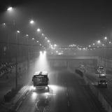 De autoriteiten van Peking voeren het smog waakzame rode niveau op Stock Afbeeldingen