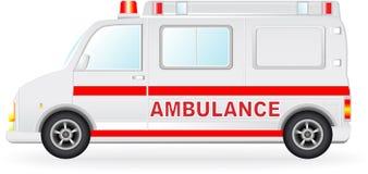 De autosilhouet van de ziekenwagen op witte achtergrond Stock Afbeeldingen