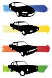 De autosilhouetten van Grunge Stock Fotografie