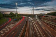 De Autosnelweg van Leeds bij Zonsondergang Royalty-vrije Stock Fotografie