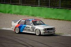 De autotest van BMW M3 E30 DTM in Monza Stock Fotografie