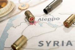 De avfyrade fallen och kulorna från geväret Bakgrundssikt på avsnittområde av Aleppo, Syrien Royaltyfria Foton