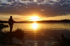 In de avond bij de visserij stock afbeelding