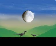 De avond van het dinosaurussenlandschap Stock Foto