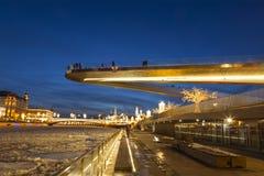 De avond van Moskou van het nieuwe jaar Het Zaryadye-Park stock foto's