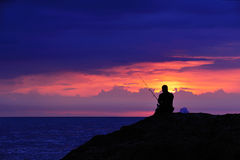 De avond visserij. Stock Foto