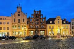De avondmening van het huis verandert Schwede Oude Zweed in Wismar, Duitsland Royalty-vrije Stock Foto's