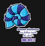 De avonturen van stickershell summer zijn verborgen binnen shell - lo stock illustratie