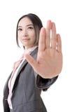 De Aziatische bedrijfsvrouw geeft u Geen gebaar Royalty-vrije Stock Foto