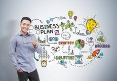 De Aziatische glazen van de zakenmanholding, businessplan Royalty-vrije Stock Foto