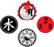 De Aziatische godsdienstige en magische symbolen stock illustratie