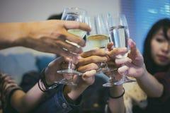 De Aziatische groep vrienden die partij met alcoholisch bier hebben drinkt a Royalty-vrije Stock Afbeeldingen