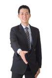 De Aziatische hand van de bedrijfsmensenschok Royalty-vrije Stock Foto