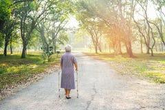 De Aziatische hogere of bejaarde oude geduldige gang van de damevrouw met leurder in park royalty-vrije stock fotografie
