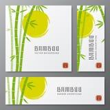De Aziatische kaarten van bambuthrees of de Japanse vectorillustratie van bamboebanners Royalty-vrije Stock Foto's