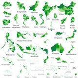 De Aziatische, kaarten van de landen van Australië en van Oceanië vector Royalty-vrije Stock Afbeeldingen
