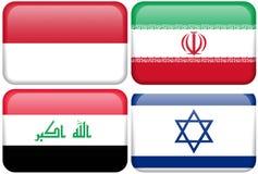 De Aziatische Knopen van de Vlag: Indonesië, Iran, Irak, Israël Stock Foto