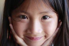De Aziatische meisjes zien onder ogen Royalty-vrije Stock Foto