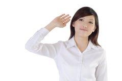 De Aziatische onderneemster heft hand op Royalty-vrije Stock Afbeeldingen
