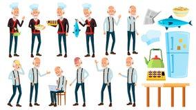 De Aziatische Oude Mens stelt Vastgestelde Vector Bejaarde mensen Hogere persoon oud Chef-kok in restaurant Broodjes, Vissen pres vector illustratie