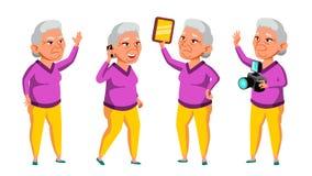 De Aziatische Oude Vrouw stelt Vastgestelde Vector Bejaarde mensen Hogere persoon oud Grappige Gepensioneerde leisure Prentbriefk stock illustratie