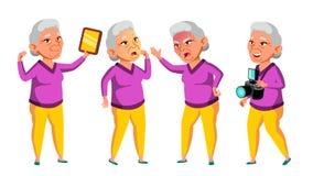 De Aziatische Oude Vrouw stelt Vastgestelde Vector Bejaarde mensen Hogere persoon oud Mooie Gepensioneerde life Kaart, Reclame royalty-vrije illustratie
