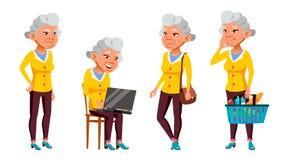 De Aziatische Oude Vrouw stelt Vastgestelde Vector Bejaarde mensen Hogere persoon oud Mooie Gepensioneerde life Presentatie, Druk vector illustratie