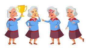 De Aziatische Oude Vrouw stelt Vastgestelde Vector Bejaarde mensen Hogere persoon oud Positieve gepensioneerde Reclame, Aanplakbi stock illustratie