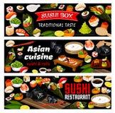 De Aziatische sushi rolt voedsel, Japanse zeevruchtenkeuken vector illustratie