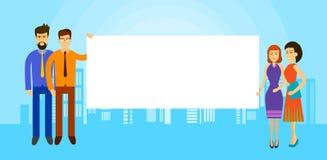 De Aziatische van de de Greep Lege Banner van de Bedrijfsmensengroep Achtergrond van de het Exemplaar Ruimtestad vector illustratie