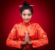 De Aziatische vrouw begroet Royalty-vrije Stock Fotografie