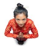 De Aziatische vrouw begroet Stock Afbeelding