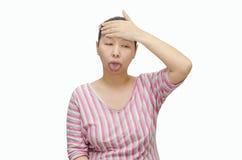 De Aziatische vrouw heeft hoofdpijn Stock Afbeeldingen