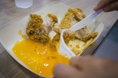 De Aziatische vrouwen die gebraden kip, de handgreep gebraden kip van de nadrukvrouw eten voor eten, meisje met snel voedselconce royalty-vrije stock afbeeldingen