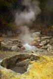 De Azoren, fumarolen en zwavel bij de vallei Furnas Royalty-vrije Stock Foto's