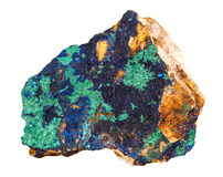 De Azurite azul profundamente com a rocha mineral de cobre verde isolada no fundo branco Fotos de Stock Royalty Free