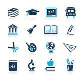 De Azuurblauwe Reeks van // van de Pictogrammen van het onderwijs Stock Fotografie