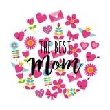De bästa symbolerna för garnering för runda för mammahälsningkort vektor illustrationer