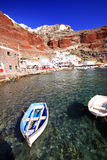 De baai van Amoudi, oia, santorini Stock Foto