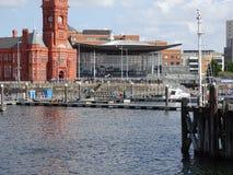 De Baai van Cardiff, Wales stock afbeelding