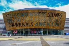 De Baai van Cardiff, Wales - Mei 20.2017: Millenniumcentrum voor Kunsten, FA stock afbeeldingen