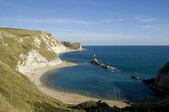 De baai van de Oorlog van de mens O, Dorset, Engeland Stock Foto's