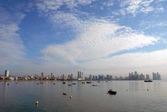 De baai van de stadsgebouwen van Panama Stock Foto
