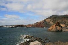 De baai van Gr Golfo, Lanzarote, Canarische Eilanden stock foto
