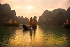 De Baai van Halong, Vietnam. De Plaats van de Erfenis van de Wereld van Unesco. stock foto's